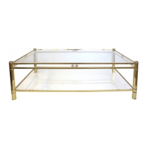 a good quality french 1970's neogothic-inspired rectangular brass coffee table with glass top and lower shelf