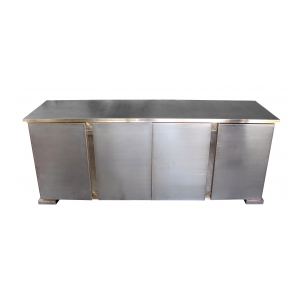 a good quality belgian 1970's brushed chrome and brass 4-door sideboard/cupboard by Belgo Chrome