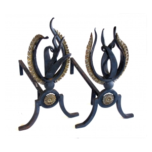 a lively pair of french 1940's hand-wrought iron andirons of a stylized flame