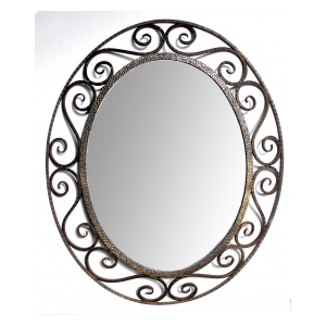 a hand-crafted french art deco openwork iron oval mirror in the style of edgar brandt