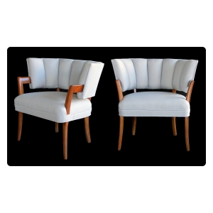 a rare and iconic pair of american art deco arm chairs by Eugene Schoen, 1930's