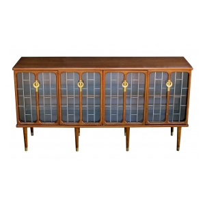 sophisticated american mid-century modern walnut 4-door credenza/sideboard
