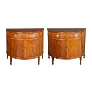 Shapely Pair of English Edwardian Mahogany Cabinets