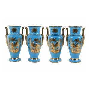 Four Empire Style Cerulean-glazed Porcelain Vases with Chinoiserie Motifs