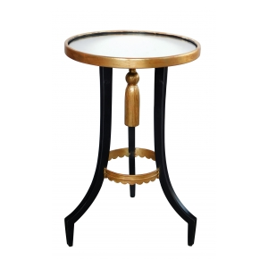 Stylish French 1940s Ebonized and Giltwood Circular Drinks Table with Mirrored Top