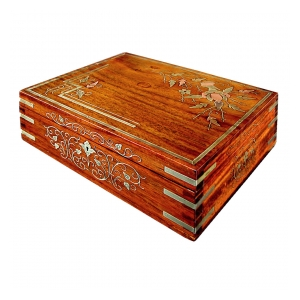 a charming french art nouveau rectangular jewel box with brass and copper inlay