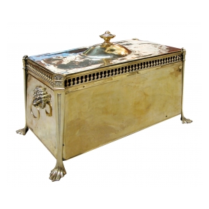 a handsome and boldly-scaled english victorian brass rectangular covered coal box with domed lid