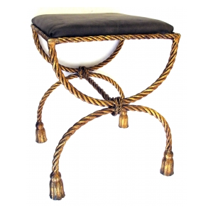 a shapely italian 1960's gilt iron ropetwist curule-form bench