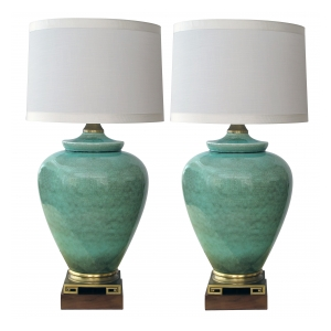 an over-scaled pair of american 1960's ovoid-form celadon crackle-glaze lamps by Marbro