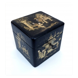 a charming english regency japanned square-form tea caddy