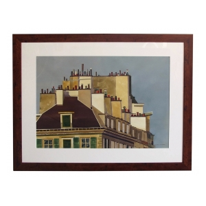 Watercolor on Paper 'Rooftops of Paris' by Michael Dunlavey