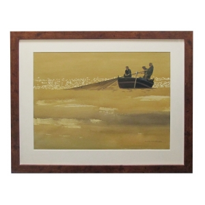 Watercolor on Paper 'The Catch at Tossa de Mar, Spain' signed Michael Dunlavey 2012