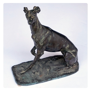 expressive and well-executed seat bronze greyhound; possibly by Emmanuel Fremiet (Paris 1824-1910)