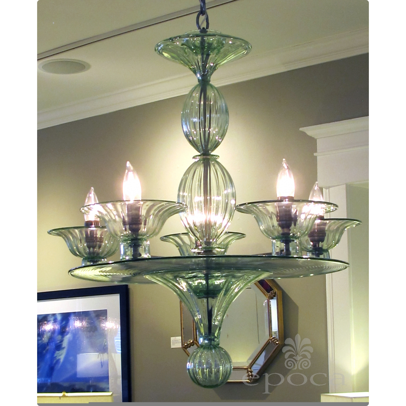 a rare and shapely murano pale green glass 4 arm chandelier epoca