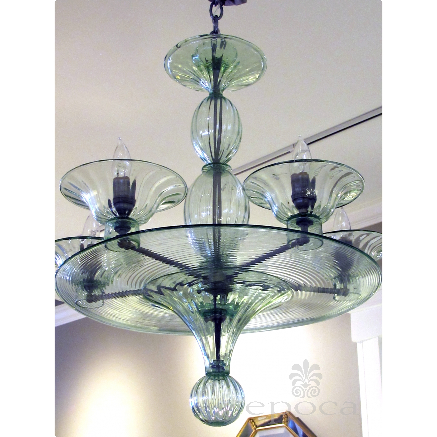 art inventory arm epoca deco shapely green a rare pale chandelier glass murano light and