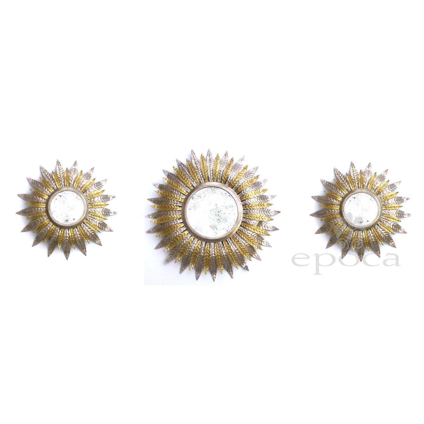 Fanciful Set Of 3 French Art Deco Silver And Gold Gilt Tole Sunburst Mirrors