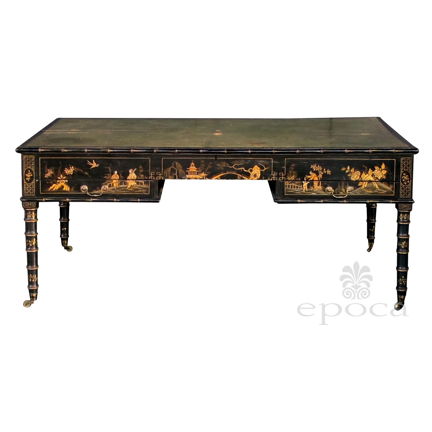 Rare English Regency Style Anned Map Table Now Adapted To A Reverse Partners Desk