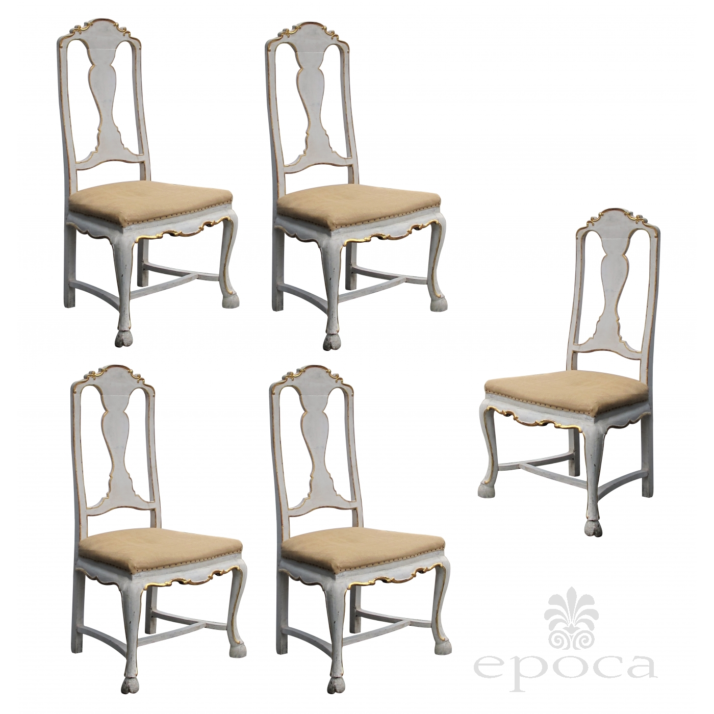 a shapely set of 5 portuguese rococo ivory painted and parcel gilt