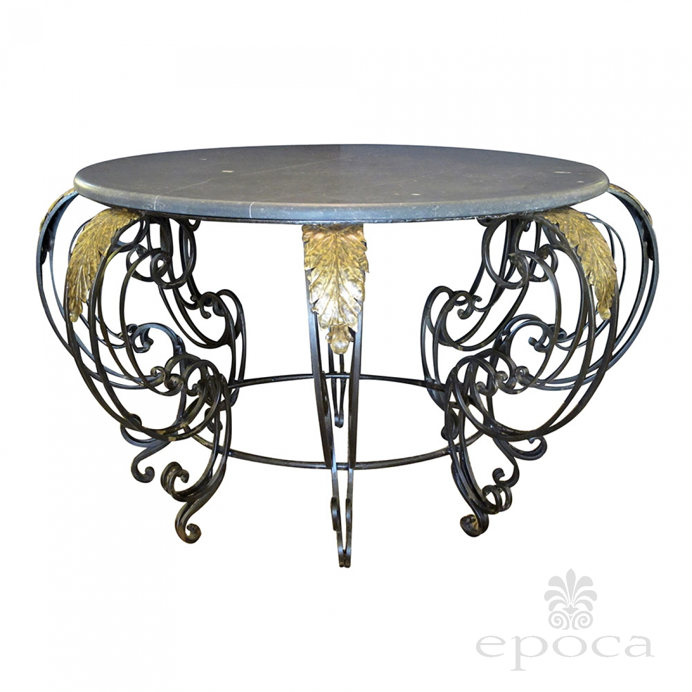 A Curvaceous French Rococo Style Wrought iron Circular