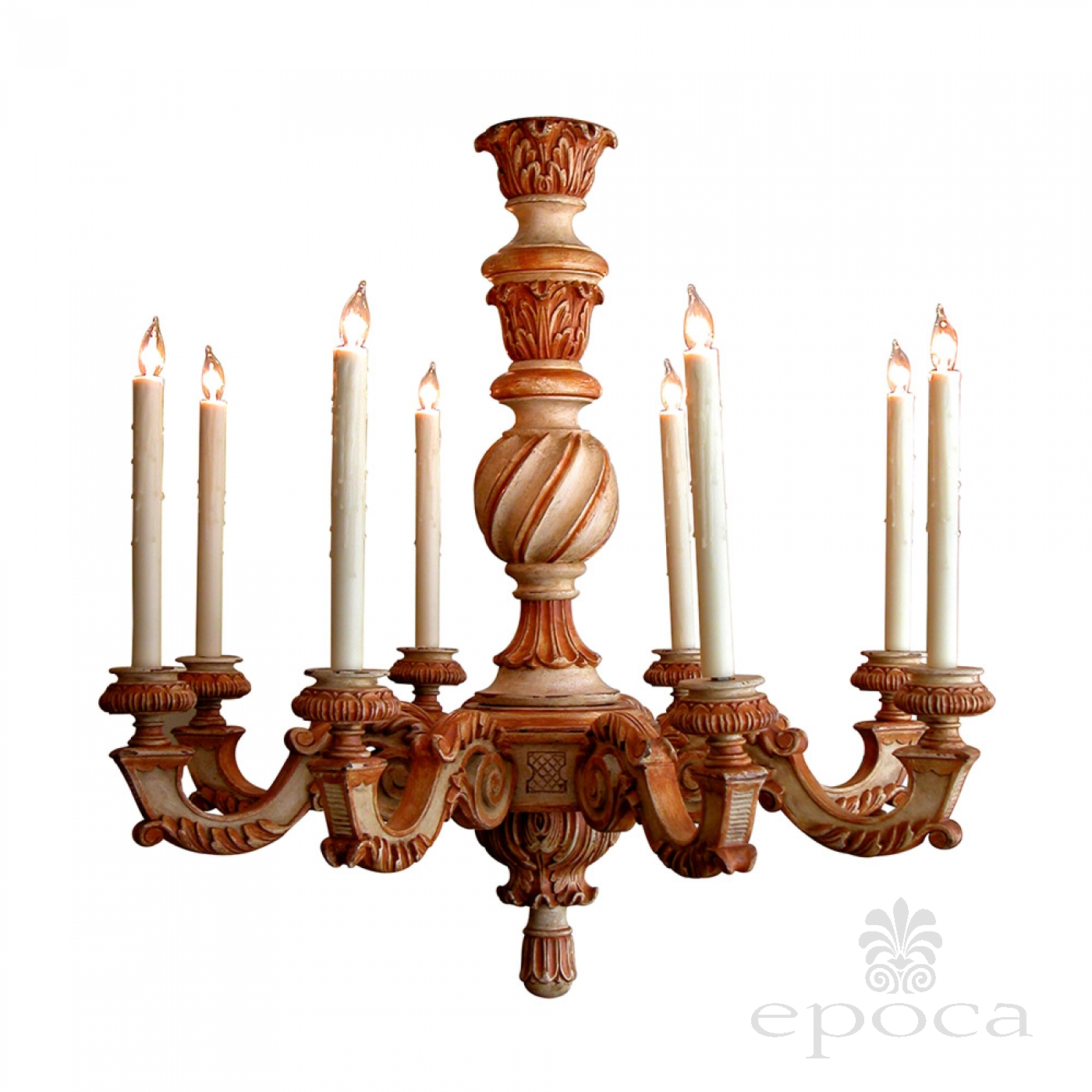 a boldly scaled french baroque style ivory painted wooden 8 arm