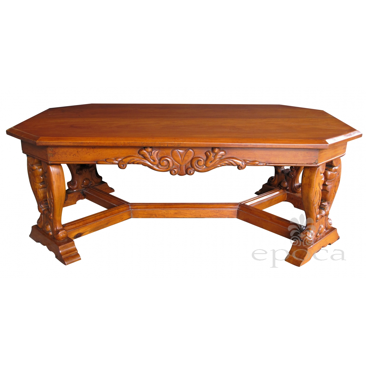 A Handsome And Boldly Carved French Baroque Style Cherrywood Coffee Table  With Canted Corners