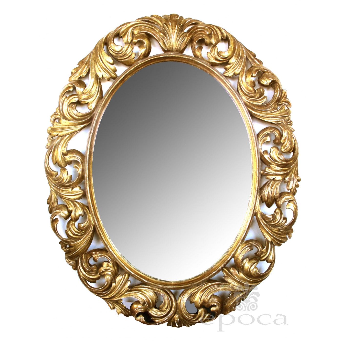 A Well Carved Italian Baroque Style Oval Gilt Wood Mirror
