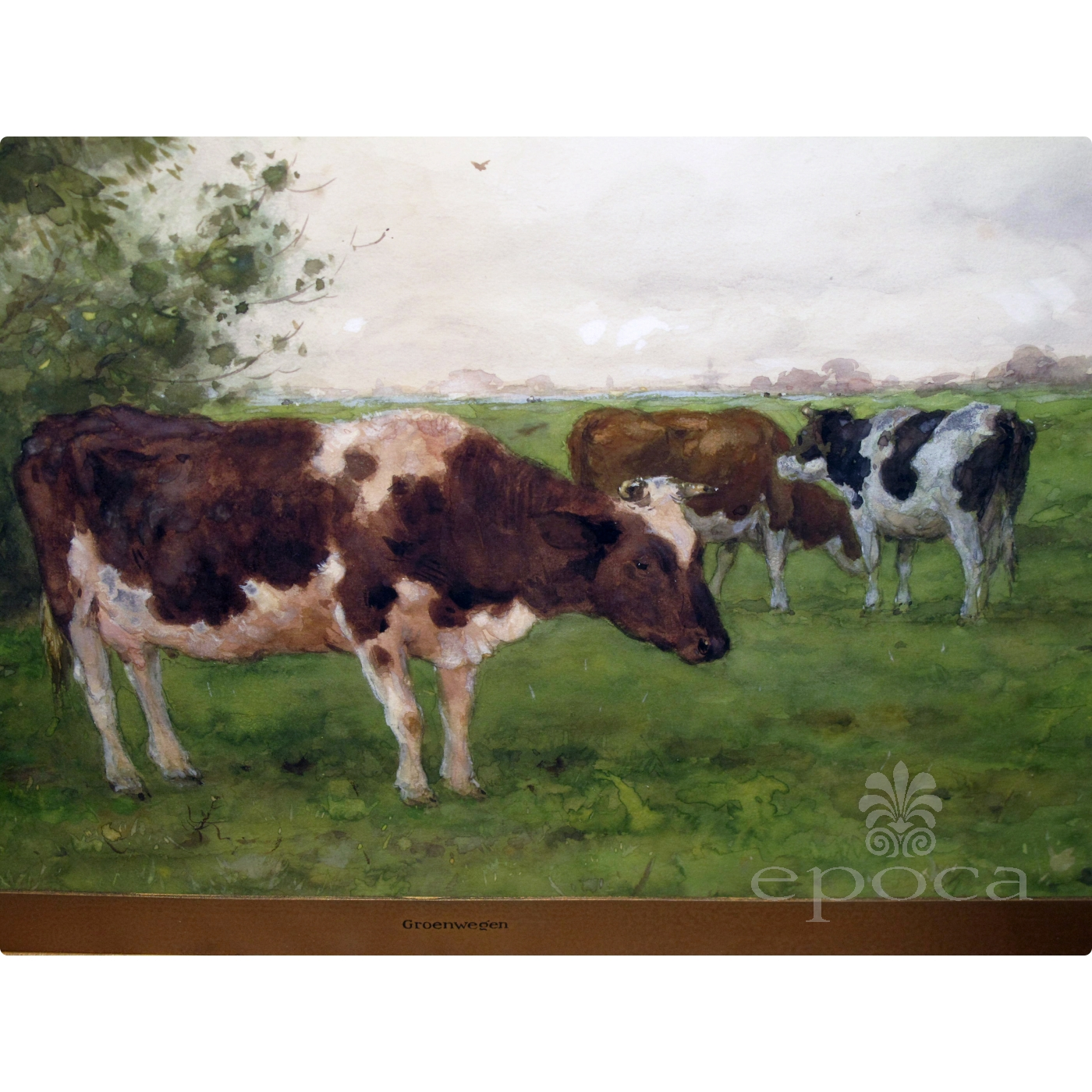 A Serene Dutch Landscape Watercolor Painting Of Three Cows