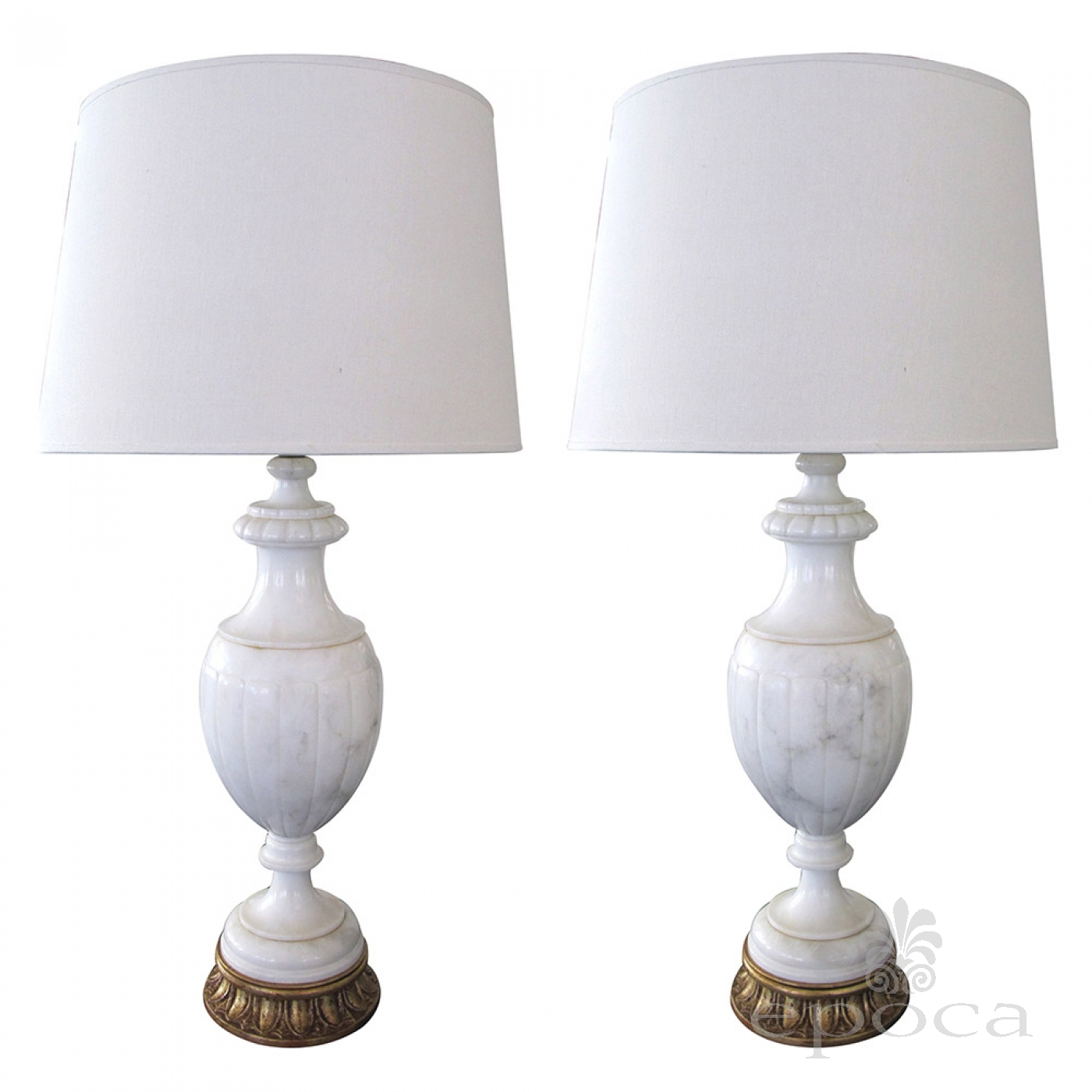 Superb A Large Scaled And Elegant Pair Of Italian Urn Form Carrera Marble Lamps