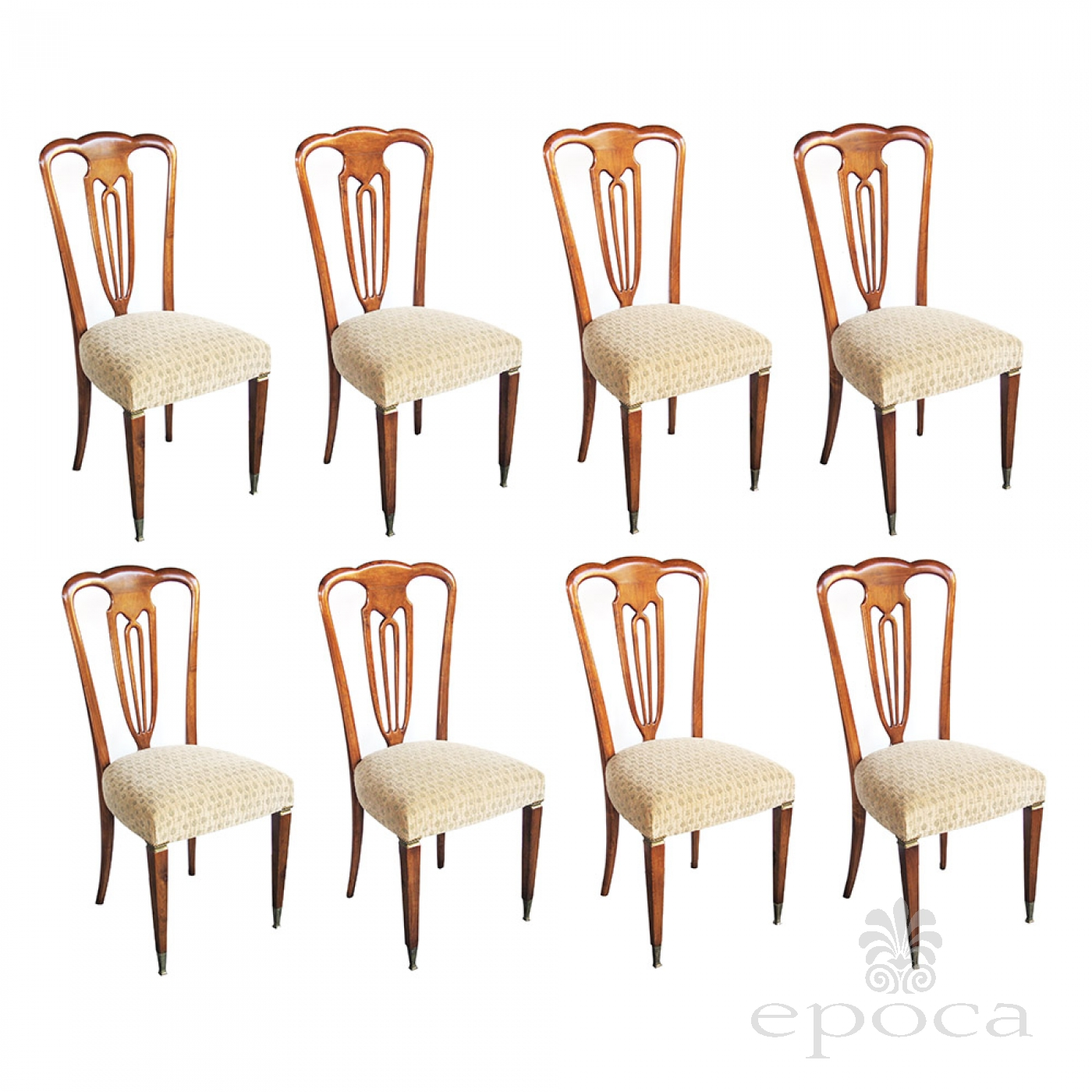 A Stylish Set Of 8 Italian 1940 S Pear Wood Shield Back Dining Chairss By Emo