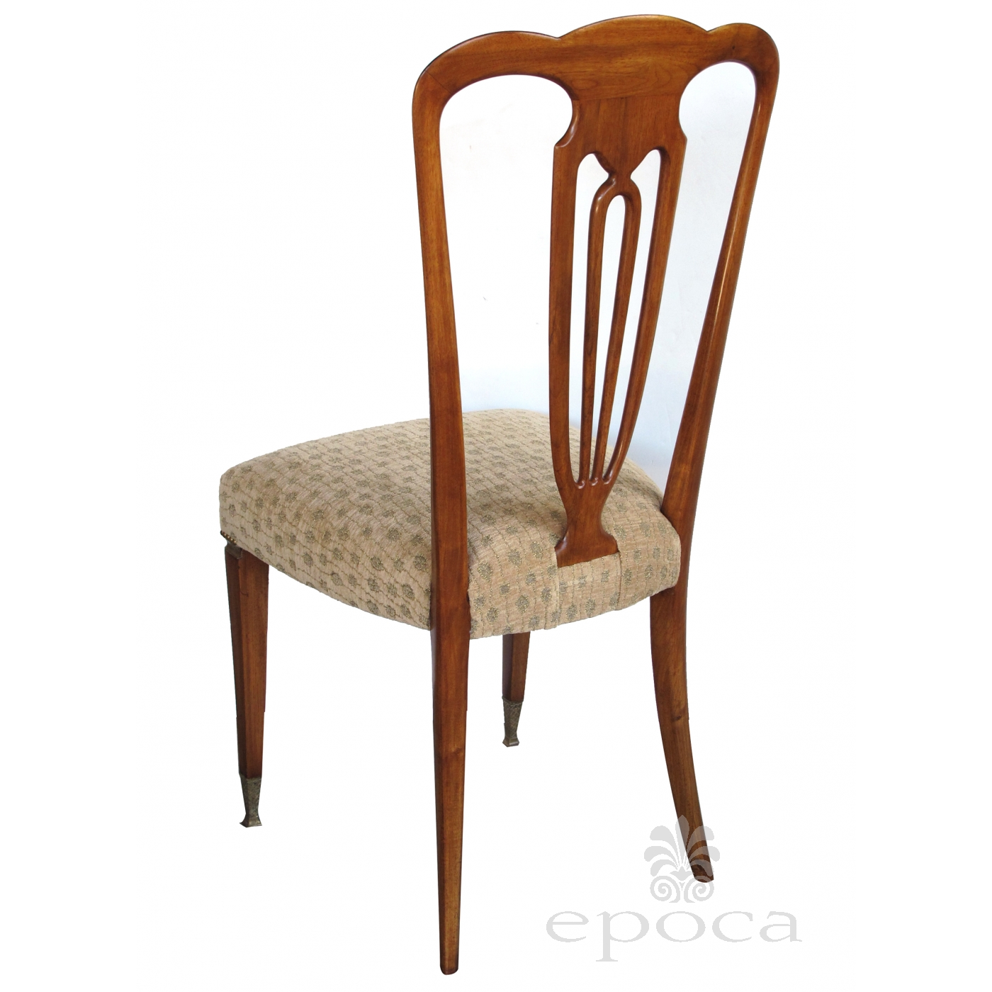 A Stylish Set Of 8 Italian 1940 S Pear Wood Shield Back Dining Chairs By Emo