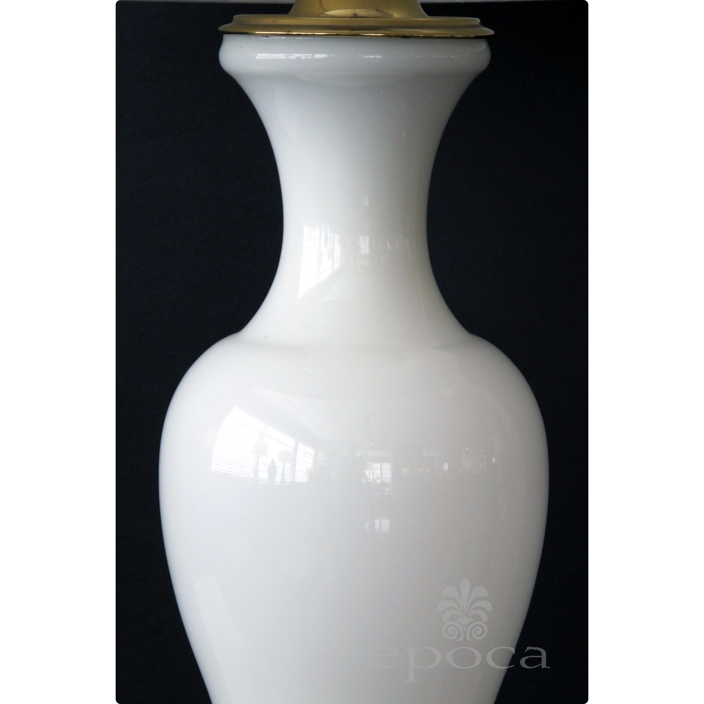 An Elegant French 1960 S White Opaline Baluster Form Glass