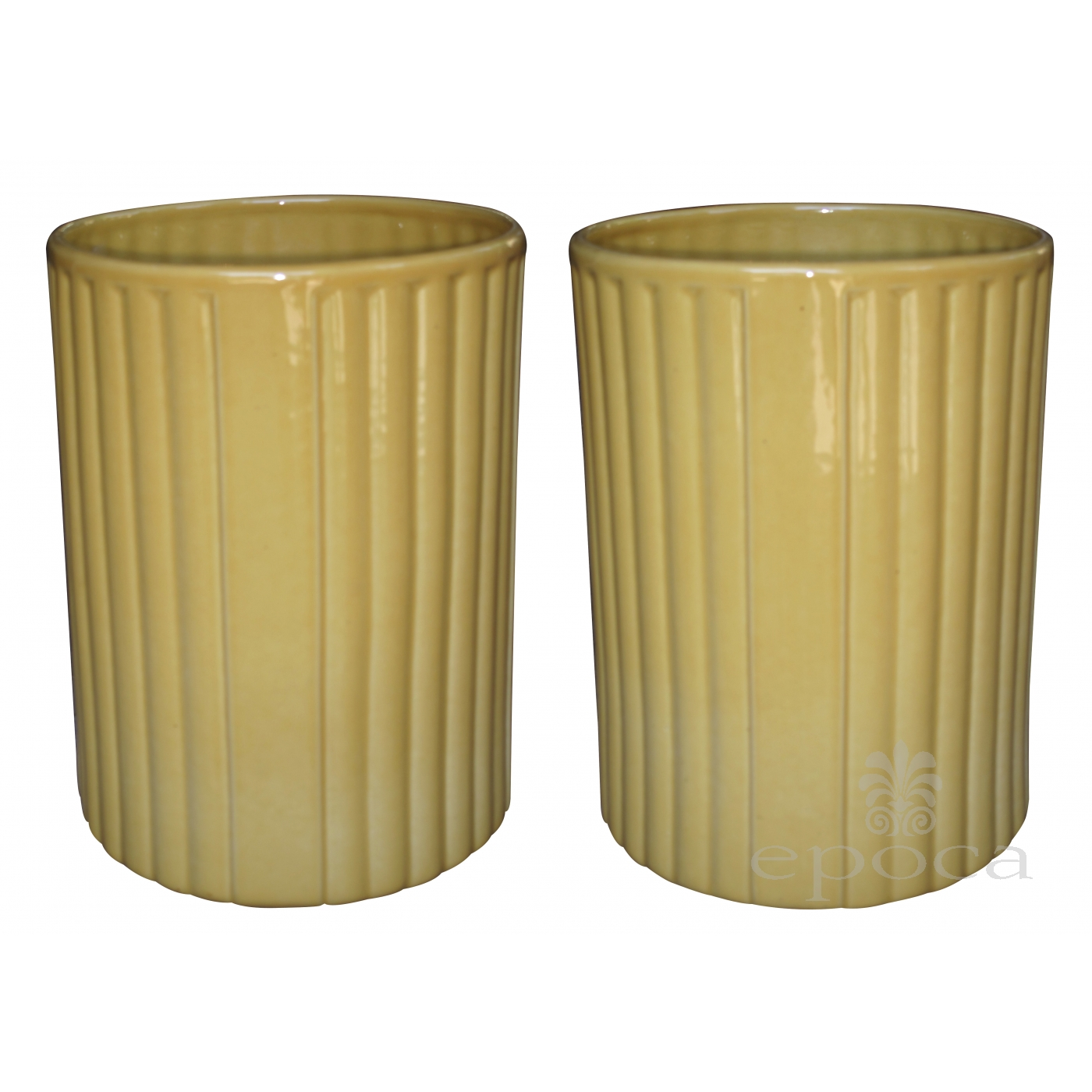 a large-scaled pair of american 1940\'s golden-yellow glazed ceramic ...