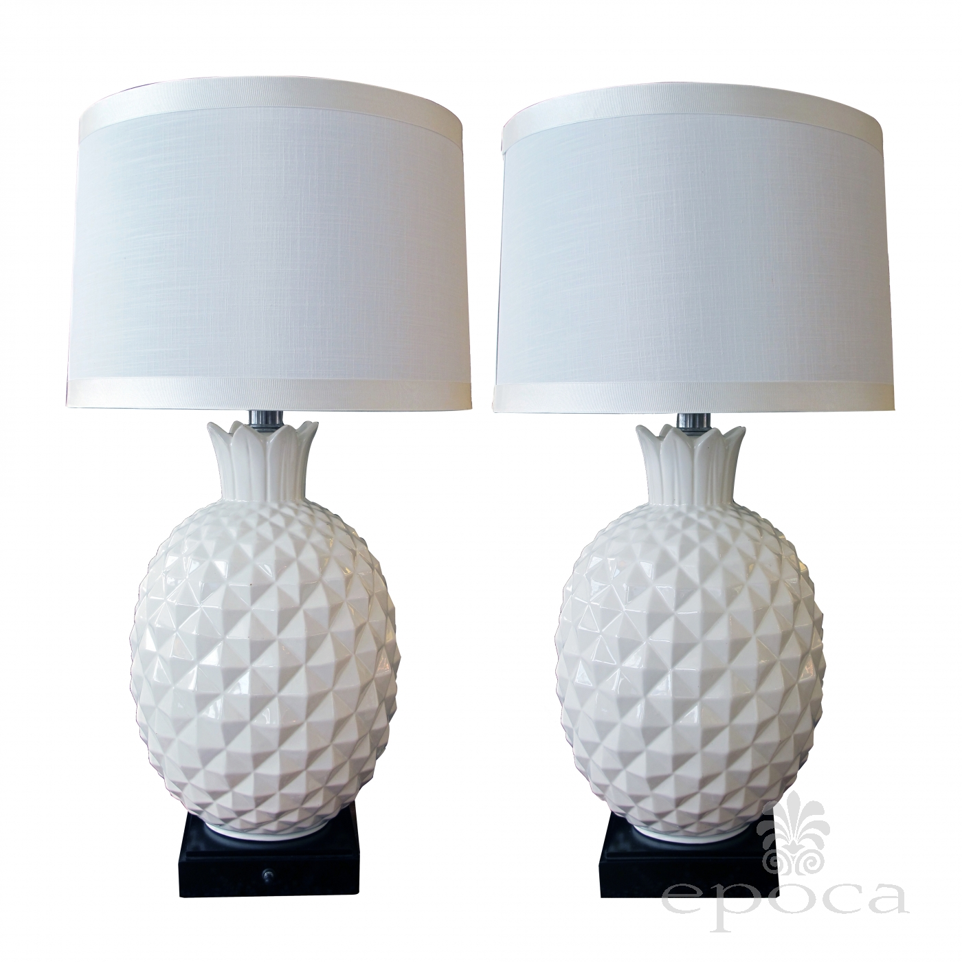 A Robust And Large Scaled Pair Of Italian 1960u0027s White Ceramic Pineapple Form  Lamps