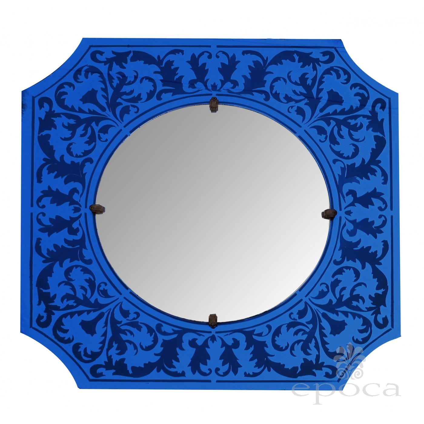 A Stylish American Art Deco Bulls Eye Mirror With Etched Cobalt Blue Frame