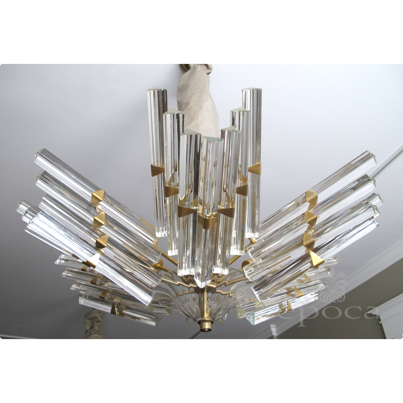 A shimmering and good quality camer flush mount chandelier with a shimmering and good quality camer flush mount chandelier with venini triedri glass arubaitofo Images