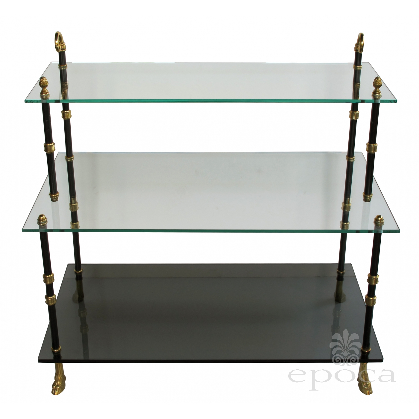 a good quality french 1940 39 s 3 tier etagere with glass shelves by maison jansen paris epoca. Black Bedroom Furniture Sets. Home Design Ideas