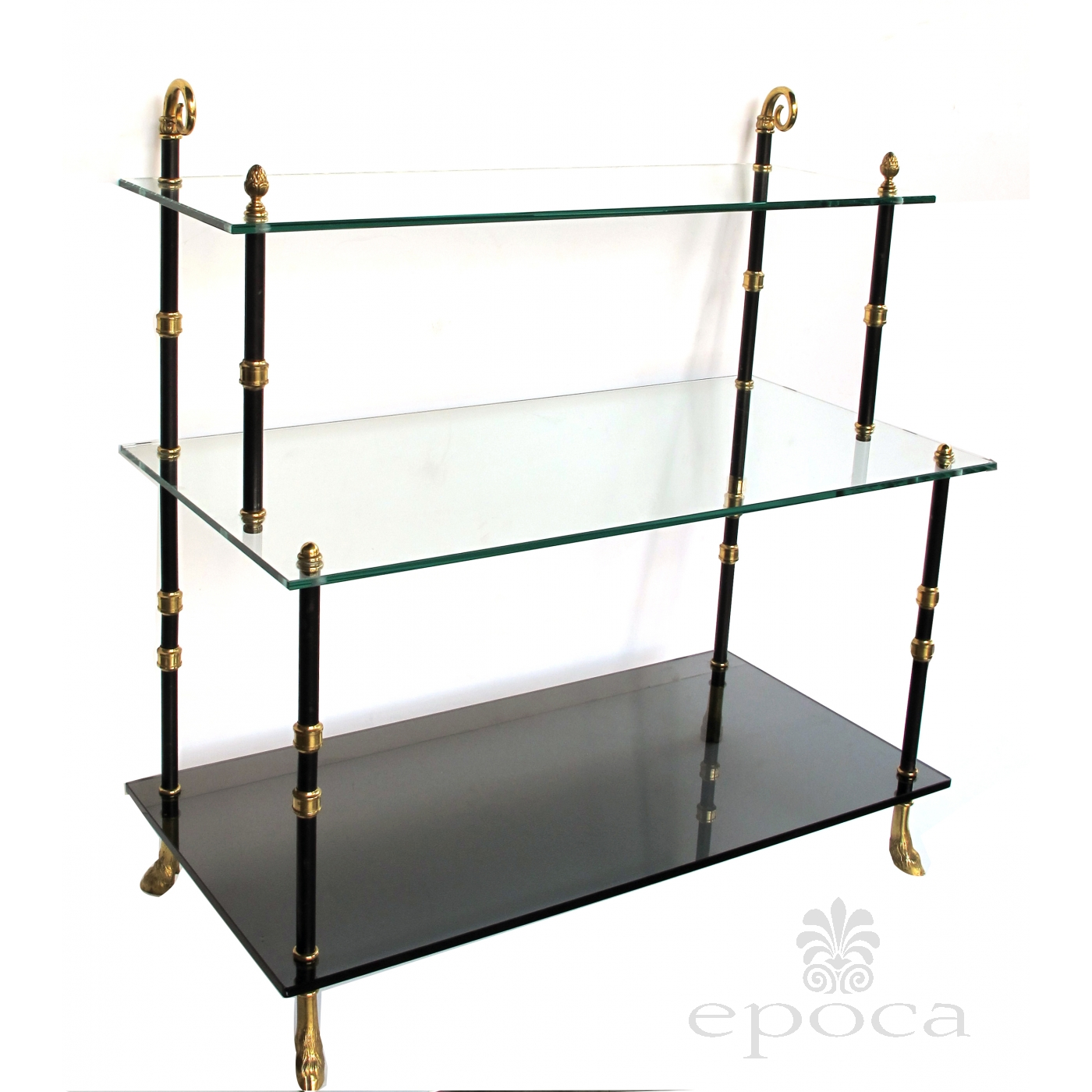 a good quality french 1940 39 s 3 tier etagere with glass. Black Bedroom Furniture Sets. Home Design Ideas