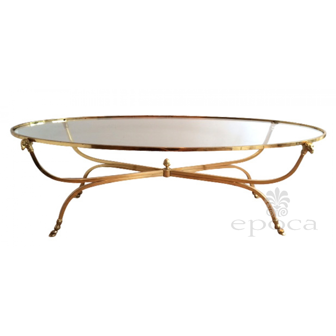 A Stylish And Good Quality French Mid Century Modern Br Oval Coffee Table With Gl