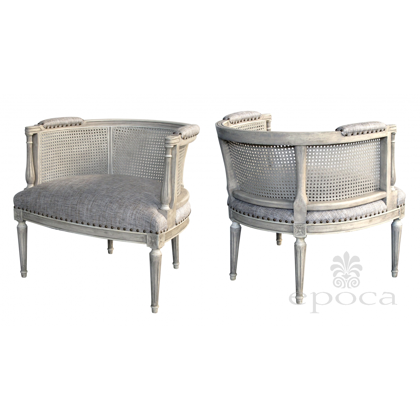 Stylish Pair Of Hollywood Regency 1960u0027s Painted Barrel Back Chairs With  Caned Back