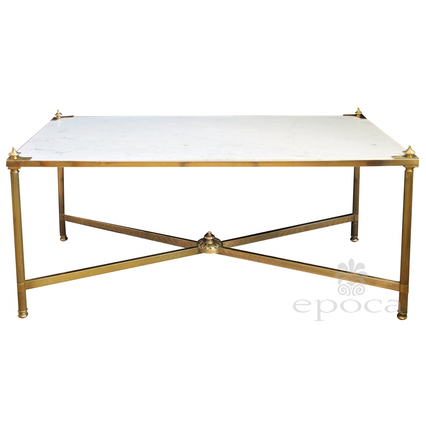 Elegant Brass And Glass Coffee Table: An Elegant French Maison Jansen Mid-century Neo-classical
