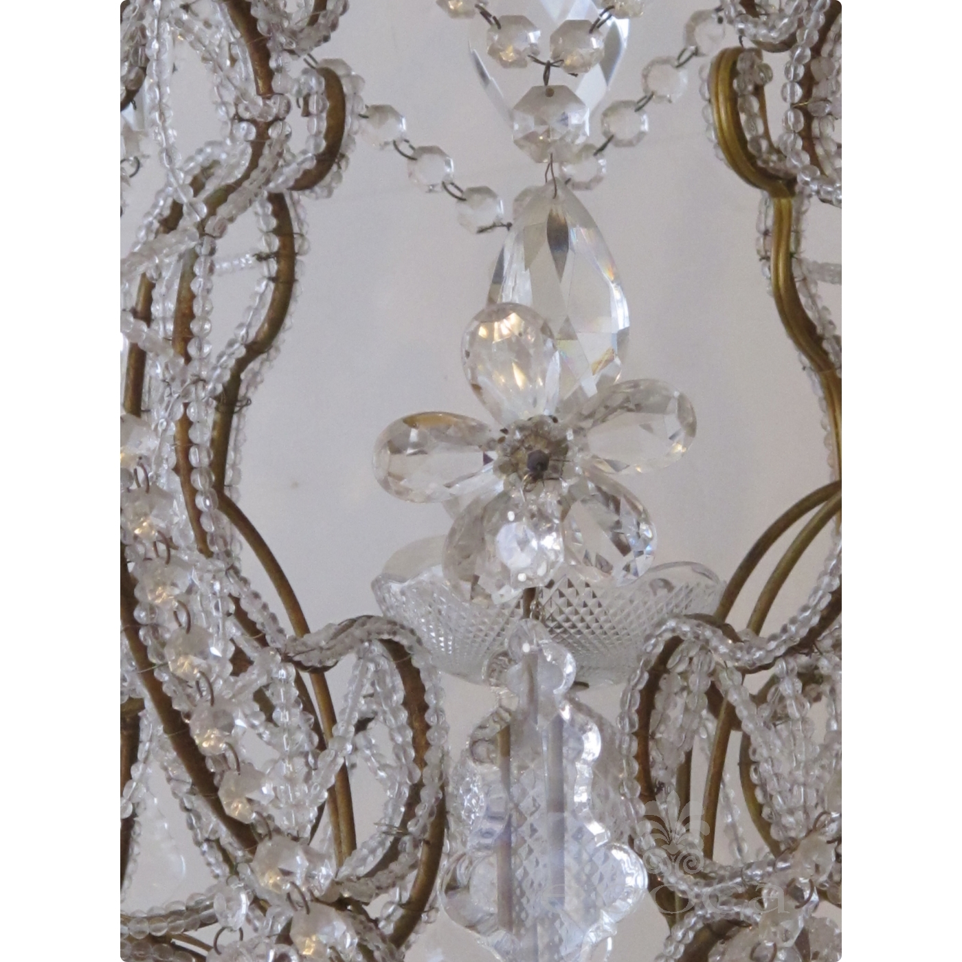 a lustrous and graceful italian rococo style cage form beaded 6