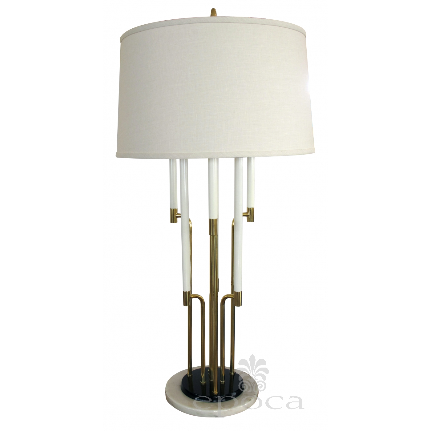 A Chic American Tommi Parzinger 1950s 6 Light Brass Table Lamp With Marble Base