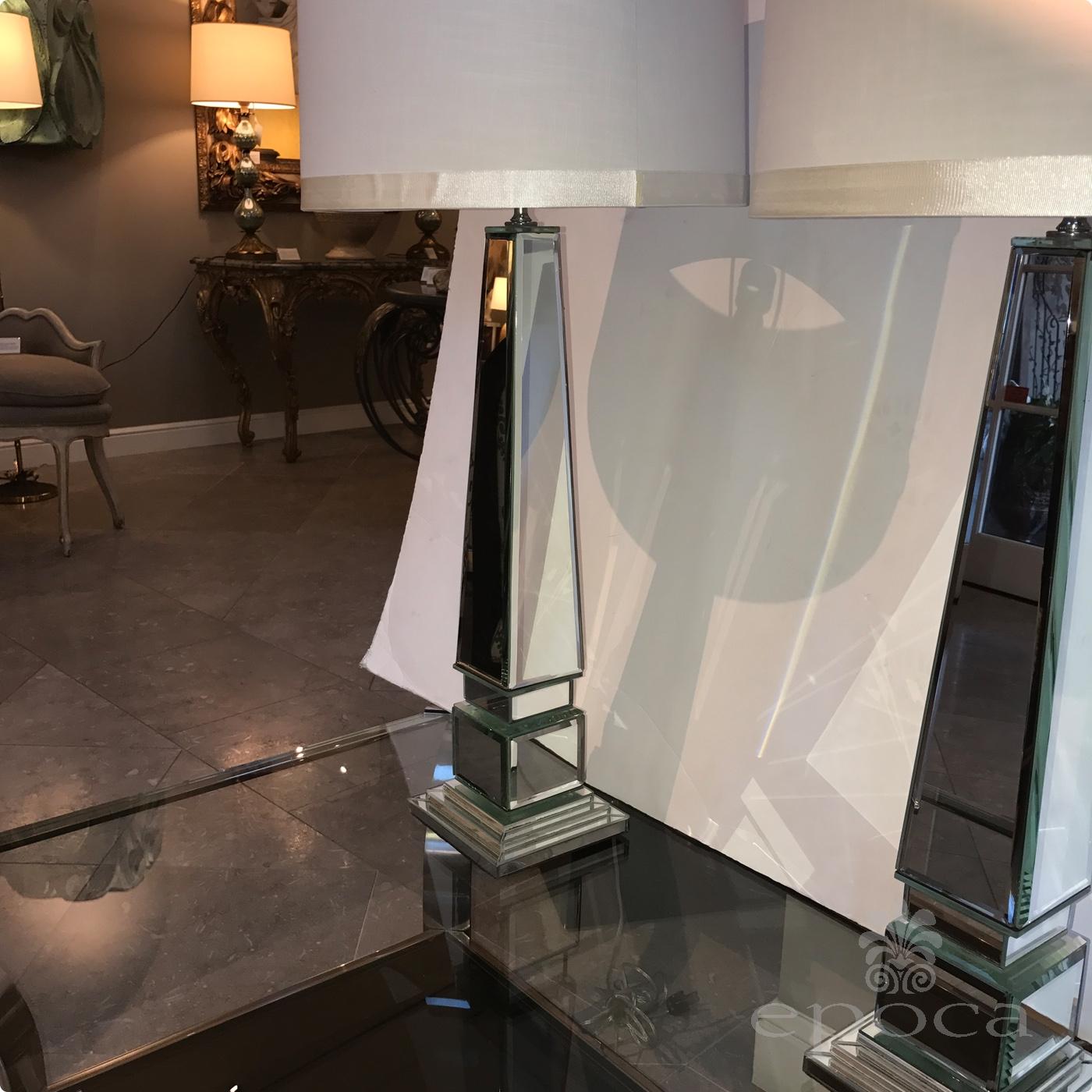 Epoca Pair Of Beveled Mirror Obelisk Form Lamps