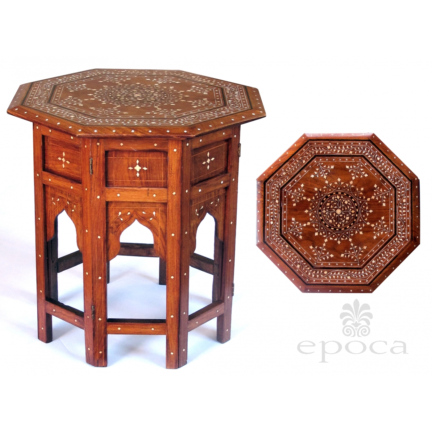Intricately Inlaid Anglo Indian 19th Century Octagonal Sandalwood Side/tea  Table With Bone Inlay;