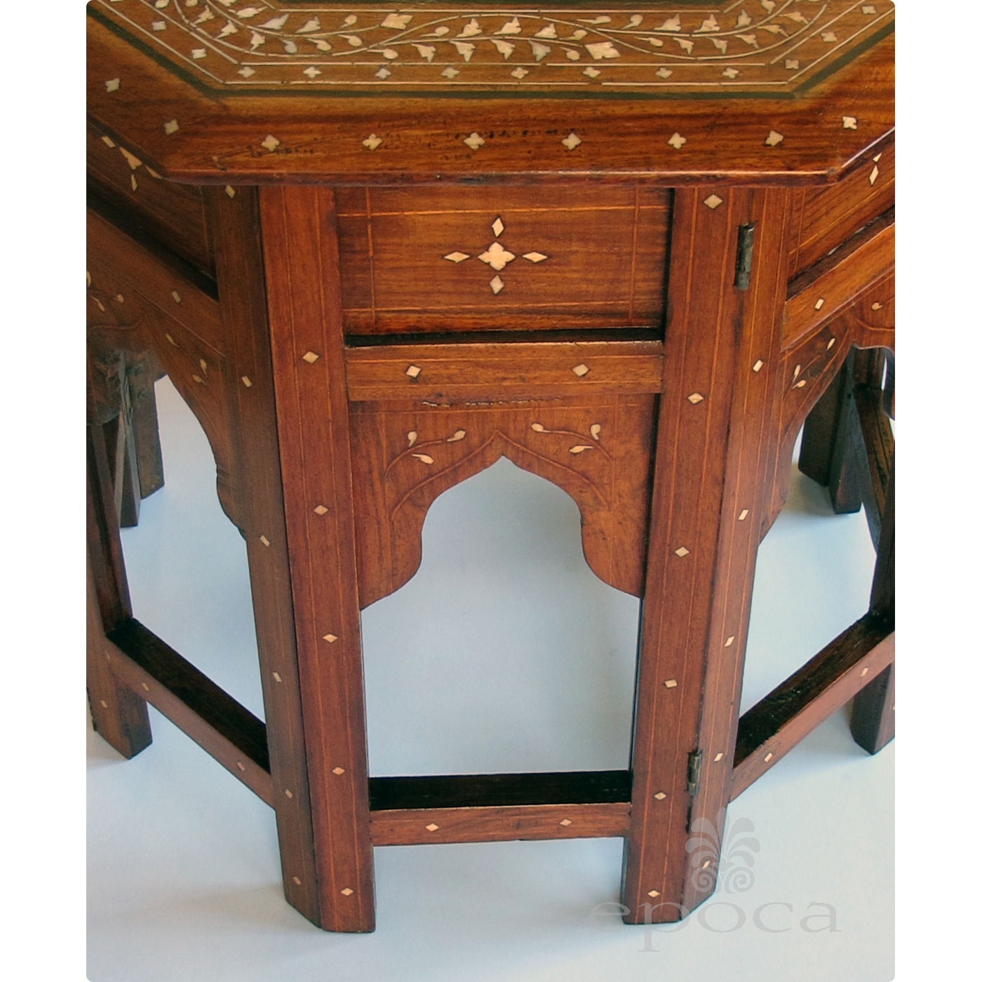 ... An Intricately Inlaid Anglo Indian 19th Century Octagonal Sandalwood  Side/tea Table With Bone Inlay ...