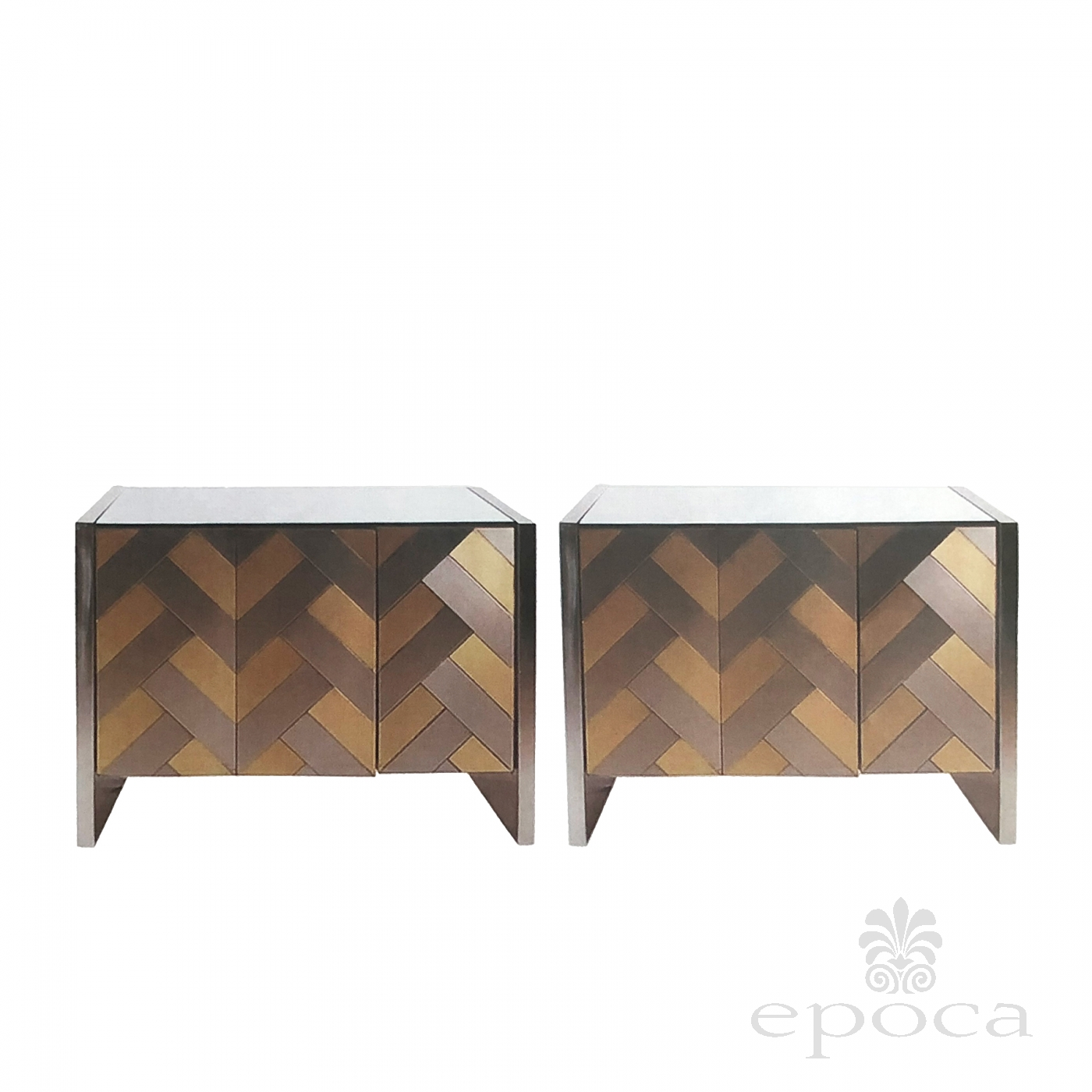Stylish Pair Of Hollywood Regency Satin Brass And Polished Steel Cabinets  Or Chests By Ello At