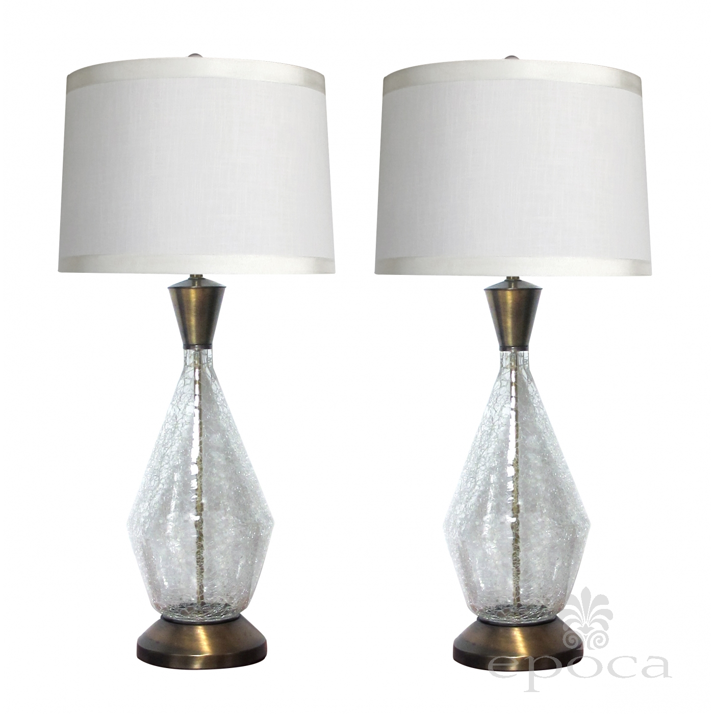 Midcentury Modern Paul Hanson 1960s Clear Crackle Glass Lamps At
