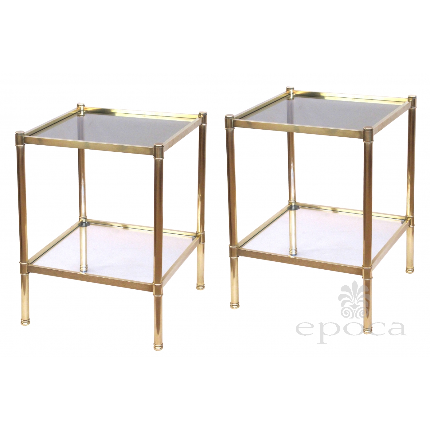 A Good Quality Pair Of French Roche Bobois 1980s Solid Brass Square