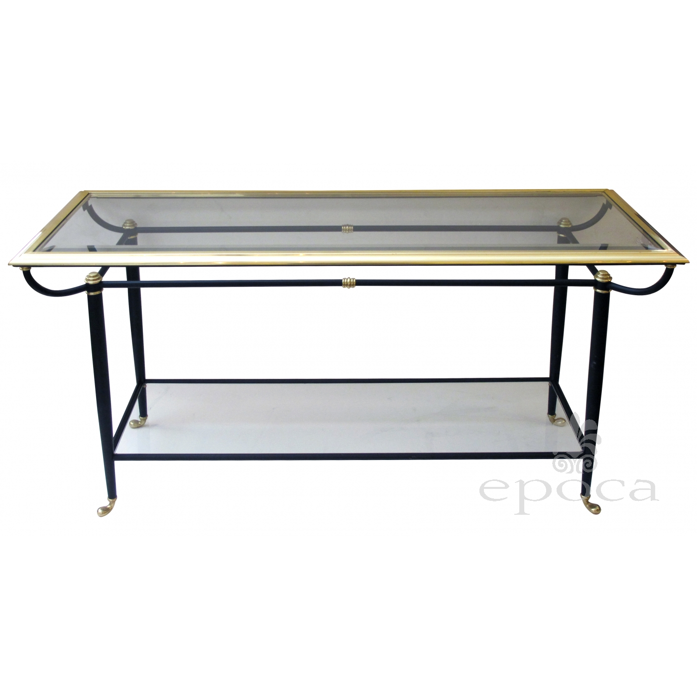 A Good Quality French 1950u0027s Brass And Black Metal Console Table With  Beveled Glass Top And