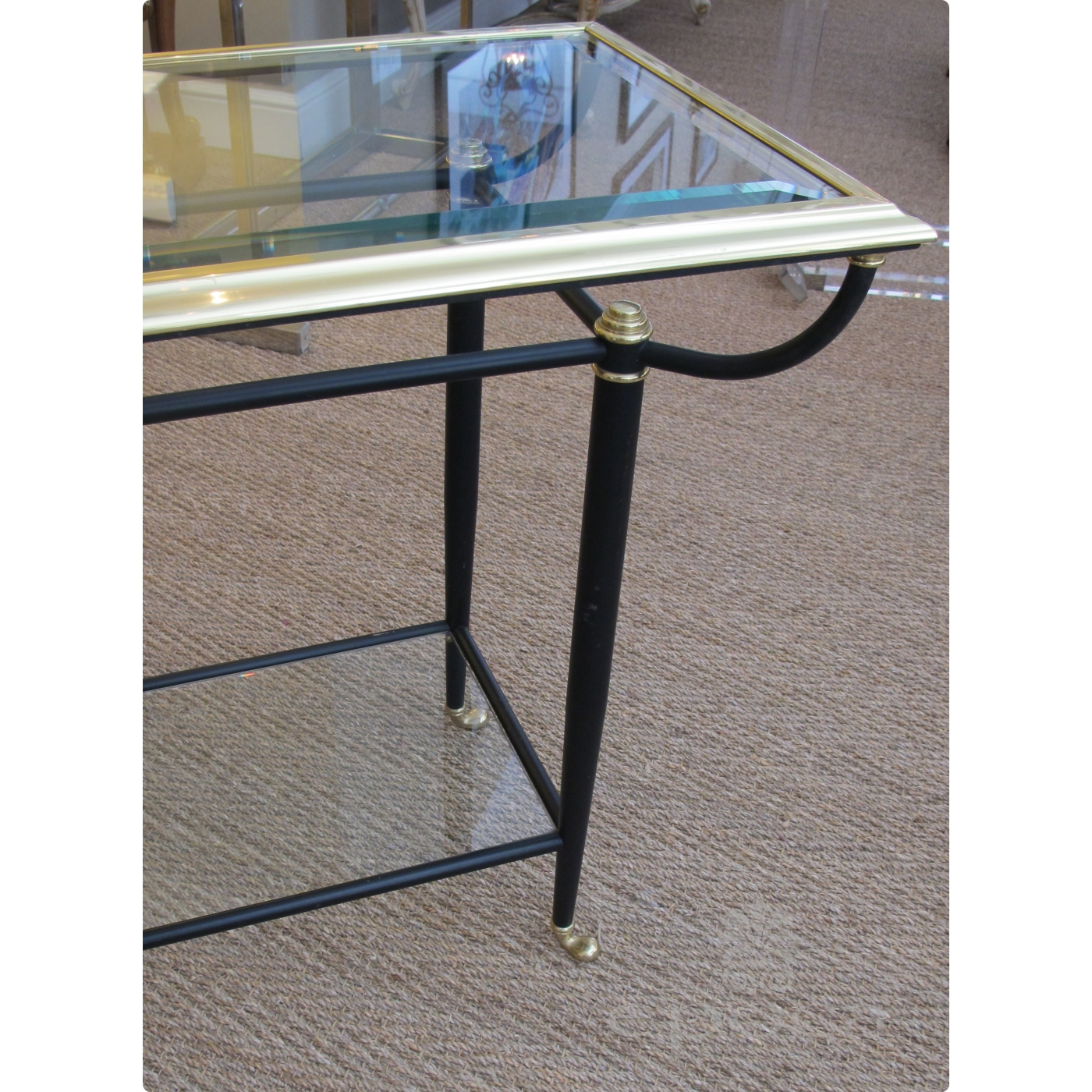 Amazon Coffee Table With Beveled Glass Top And Black Metal: A Good Quality French 1950's Brass And Black Metal Console